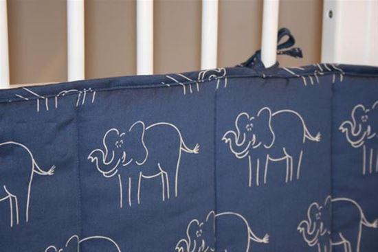 Billede af Sengerand - blå elefant