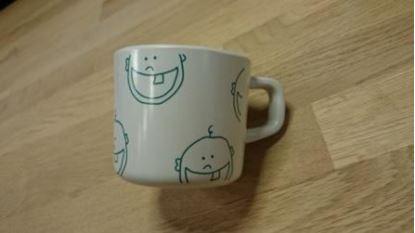 Billede af IdaT Melamin kop - hvid grøn logo