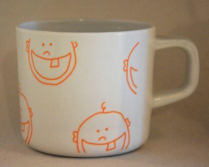 Billede af IdaT Melamin kop - hvid gul/orange logo