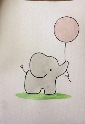 Billede af Kort med elefant - pink