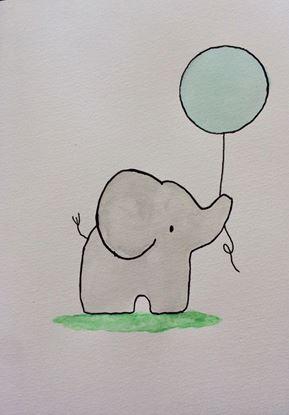 Kort elefant blå