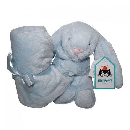 Billede af Nusseklud Jelly Cat kanin med lille tæppe - blå