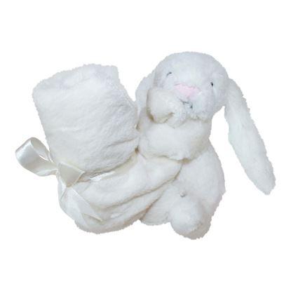 Billede af Nusseklud Jellycat kanin med lille tæppe - hvid