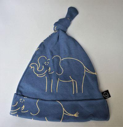 Billede af IdaT - Hue med top - blå elefant