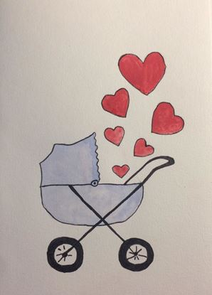 Billede af Kort med barnevogn og hjerter - blå