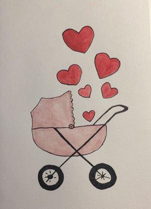 Billede af Kort med barnevogn og hjerter - pink