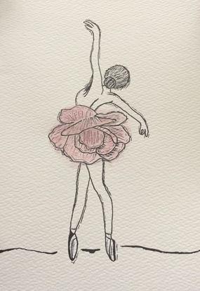 Billede af Kort med ballerina med blomsterkjole