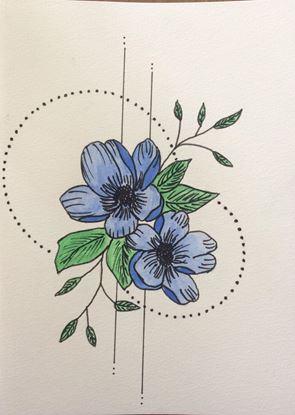 Billede af Kort med blå blomst